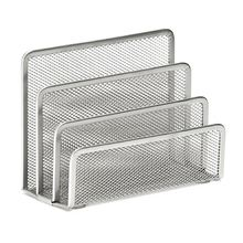 Metal Office Mesh Bin & Desk Organiser Set Stationery Tidy Letter Holder, Letter Sorter Silver(China)