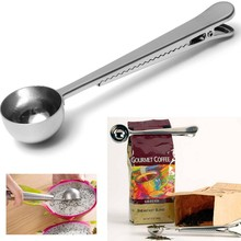 2016 Silver Stainless Steel Ground Coffee Tea Measuring Scoop Spoon With Bag Seal Clip(China)