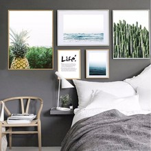 Nordic Ocean Landscape Life Quotes Canvas Painting Minimalist Poster Oil Wall Art Pictures for Living Room Home Decor No Frame(China)