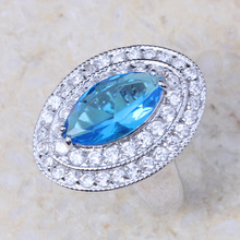 AAA CZ Lab Factory Direct Jewelry Imitation Blue Crystal Silver Plated Fashion Ring J311 Shipping Wholesale