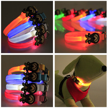 8 Color Glow LED Dog Pet Cat Flashing Light Up Nylon Collar Night Safety Collars Supplies Products Accessories 18-28CM Wholesale