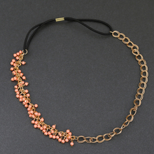 2016 NEW Fashion Beads hair wear Link Chain and Rope chain Headband PINK beads Hair Jewelry for women