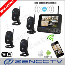 "7"" LCD Monitor Home Security Camera System Wireless Alarm PIR 4CH Surveillance Cameras Kit Indoor IP Remote Via Smart Phone(China)"