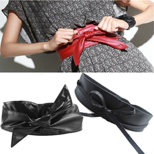 Fashion Women Belt Long Section Of the Circle Soft Leather Bowknot Body Shaping Bands Wide Belts All Match Dress