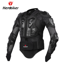 HEROBIKER New Men's Motorcycle Jacket Armor Full Body Motocross Racing Protective Gear Motorcycle Protection Black/ Red S-XXXL(China)