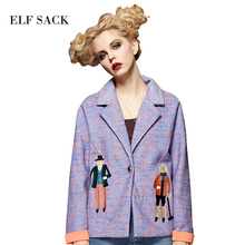 ELF SACK 2017 Embroidery Jacket Women Autumn Short Coats Loose OL Outerwear Women's Casual Turn-down Collar Jackets Female Coat(China)