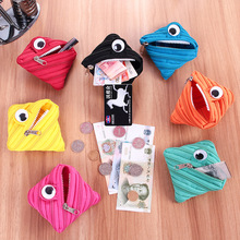 New Eyed Monster Fashion Cute Coin Purse with Zipper Min Bag Children Cartoon Wallets Cute Headset  Admission Package
