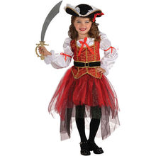 Deluxe Kids Child Girls Pirate Costume Carnival Halloween Princess Fairy Fancy Dress up Royal Cosplay Dress with Hat Belt