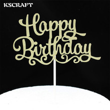 KSCRAFT Gold Happy Birthday Party Cake toppers picks decoration for Kids Birthday party Cake favors Decoration supplies