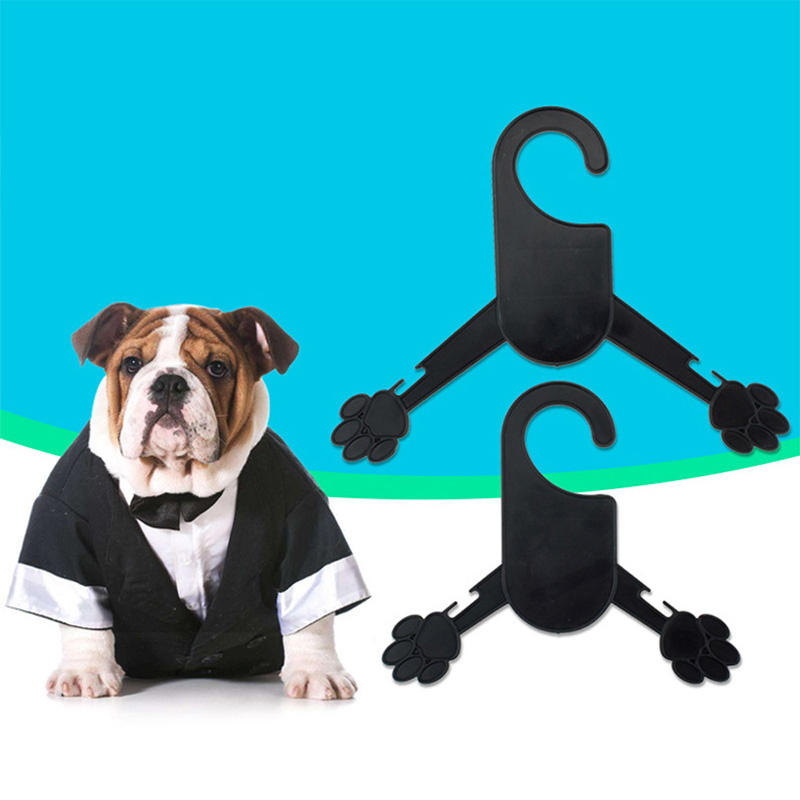 10pcs/lot Professional Dog Clothes Hanger Paw Shape Black Plastic Pet Puppy Hanger S/M Paw Shape Pet Coat Dress Racks(China)