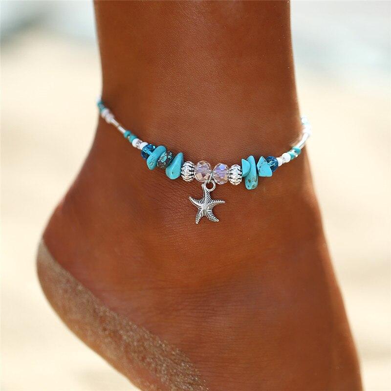 17KM-2PCS-Bohemian-Starfish-Stone-Anklets-Set-For-Women-Vintage-Handmade-Wave-Anklet-Bracelet-on-Leg