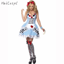 Plus Size French Maid Costume For Women Fashion Sexy Poker Dress Alice Costume Halloween Cosplay Party(China)
