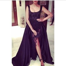 2017 Black Square Neck Prom Dresses Custom Made Front Slit African Aso Ebi Beading Lace 2k17 Sexy Long Evening Dress