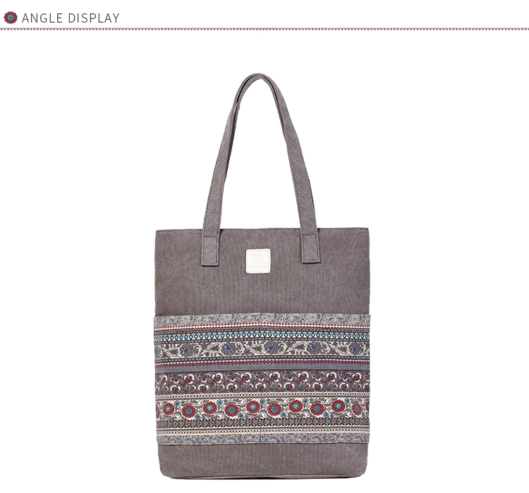 Canvasartisan Brand new canvas women handbags floral vintage female shopping shoulder bag zipper closure tote hand bags 10
