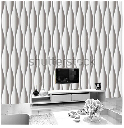 Custom 3 d wall panel wall paper, modern white wavy design used in the sitting room bedroom TV wall vinyl  paper de parede<br>
