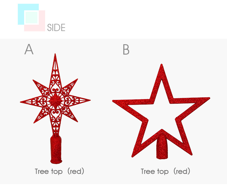 06 2018 inhoo Red Christmas Tree Top Decorations Stars For Home House Table Topper Decor Accessories Ornament Xmas Decorative Supplies