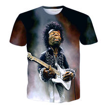 Funny 3D Printed T-shirt Men Great Electric Guitar Performer Jimi Hendrix Tie Dye T shirt Hip Hop Tees Cool Summer Tops Homme(Hong Kong)