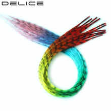 "[DELICE] 12 strands/Pack 16"" Girls Multicolor Rainbow Ombre Straight Grizzly Rosster Synthetic Hair Extensions With Beads Free"