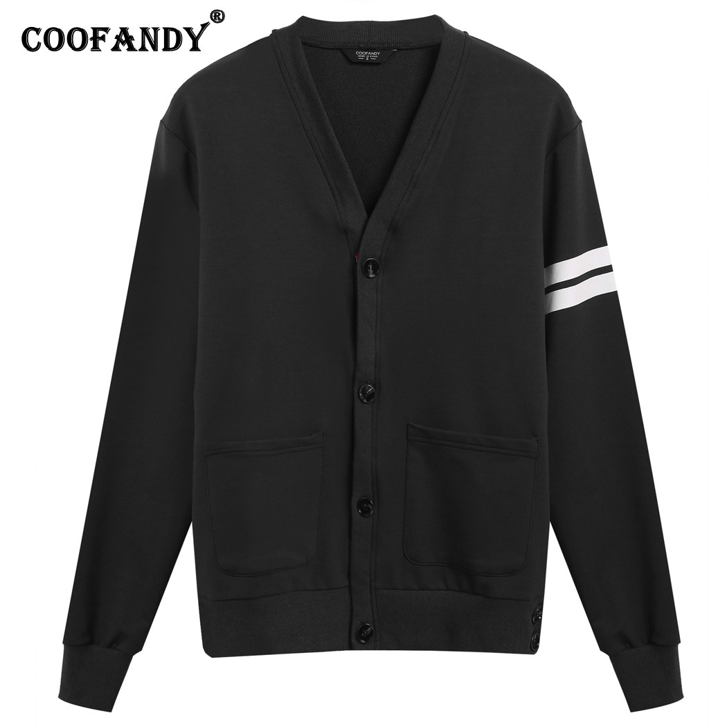COOFANDY 2107 Hot Sale Men Casual Long Sleeve V Neck Solid Fitted Pullover Contrast Color Color Block Cardigan