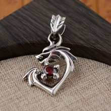 FNJ 925 Silver Dragon Pendant New Fashion Red Cubic Zircon Stone S925 Solid Thai Silver Pendants for Women Men Jewelry Making(China)