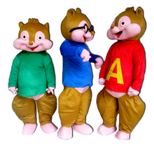2017 New Alvin and the Chipmunks Mascot Costume Chipmunks Character adult Halloween party costume Carnival Costume