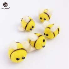 Let's make baby teether 10PC 2.5cm wool felt ball Beads bee Craft Supplies Car Seat Toy diy Bangles rattle sensory grasping toys(China)
