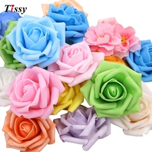50Pcs/Lot Artificial Foam Roses For Home And Wedding Decoration Flower Heads Kissing Balls For Weddings Multi Color 7Cm Diameter(China)