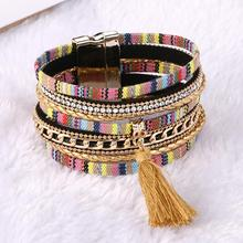 Rhinestone Feather Wide Multilayer Leather Bracelet Tassel Bracelet Women Charm Boho Bohemian Bracelets Bangle(China)