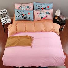 Simple Cotton Set Bedding pink and orange Solid Bed duvet cover linens 4pcs Home Breathable Smooth bedding sets(China)