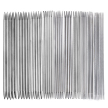 11 Sets of 20cm Long Stainless Steel Straight Double Pointed Sweater Crochet Knitting Needles - 2.0mm to 6.5mm (Silver)