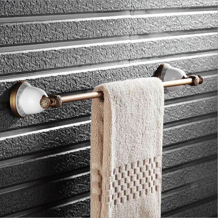 Antique wall mounted 24 inch Single Towel Bar Elegant Towel Holder Bathroom Black Oil brushed Towel Rack brass and ceramic<br>