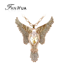 FANHUA Cheap Costume Jewelry  Rose Gold Color Austrian Crystal Bird Pendant Women Joias Ouro Necklace