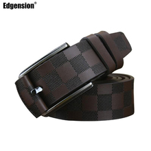 Edgension British Style Men Luxury Brand Name Designer Plaid Pattern Genuine Leather Wide Belts New 2017 Fashion Man Accessories(China)