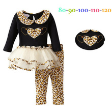 Girls Spring Clothing Sets Kids Apparels 2014 New Cartoon leopard pajamas Sets children outerwear children T shirt+pants