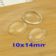 Free shipping! 200pcs/pack 10x14/13x18mm clear domed magnifying oval glass cabochons,photo jewelry pendant inserts(China)