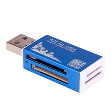 Best Sale Gifts Blue USB 2.0 All in 1 Multi Memory Card Reader Adapter For Micro SD SDHC TF M2 MMC Cardreader Connector Suppion