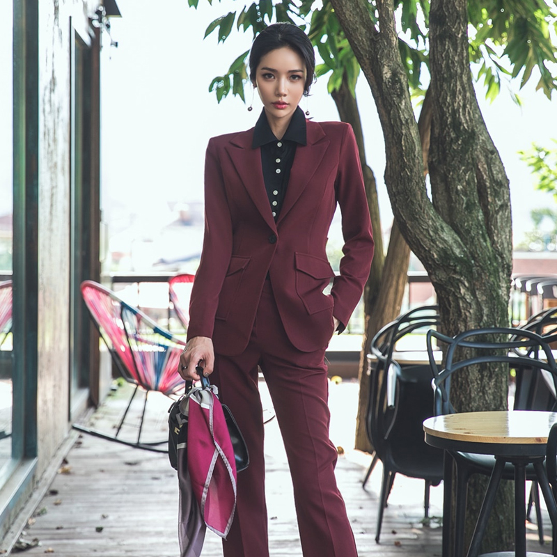 CBAFU office ladies business wear work women pants suits blazer jacket coat pencil pants female 2 piece set autumn spring D152
