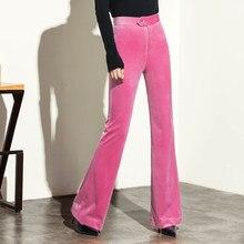 Femmes Automne Velours Pantalon Mode Femme Taille Haute bell-bottom  Angleterre Style Affaires Décontracté Couleur e60b8fb8dfa