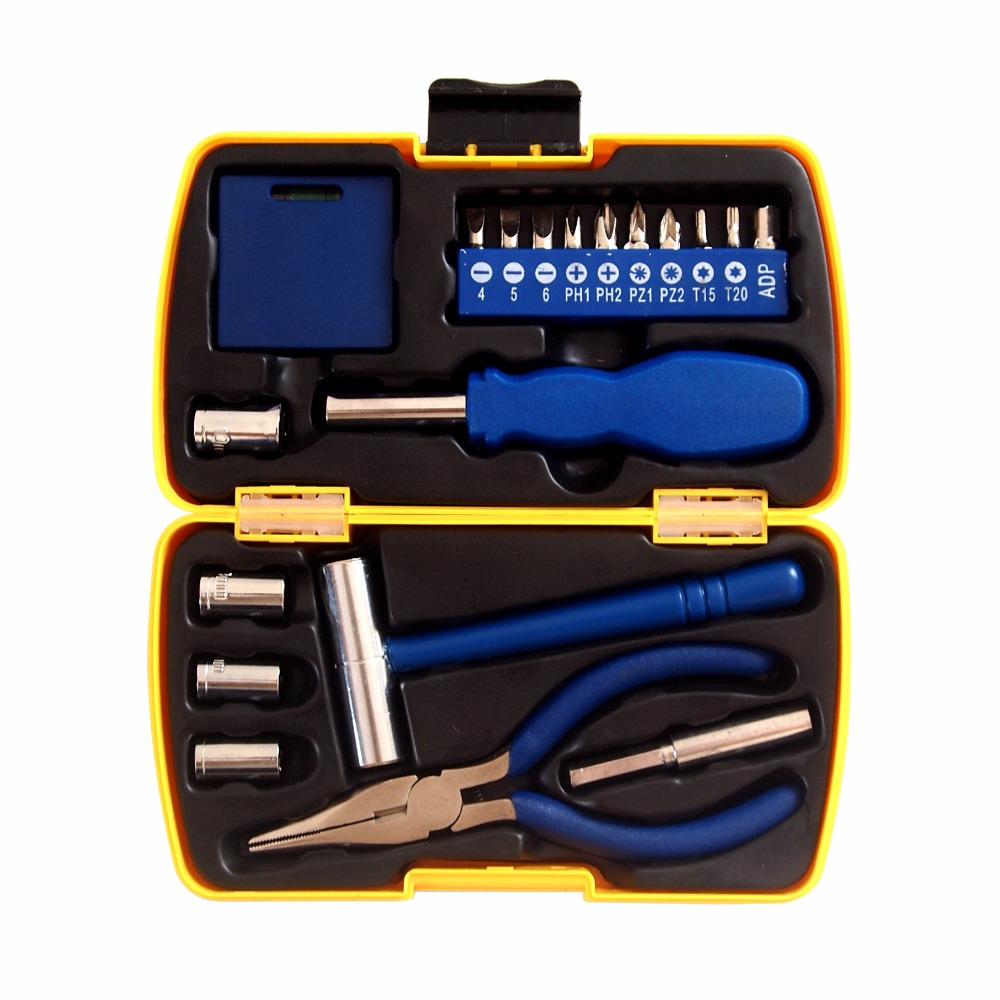 19PCS/set home toolkit tool combination suit boxed handtool hardware tools set household multifunctional kit Car kit<br><br>Aliexpress