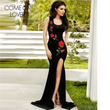 Comeonlover Rose embroidery sleeveless summer style maxi robe split sexy dresses free shipping black floor length dress VL1066