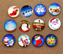 24pcs 16mm The Santa Claus Christmas Socks,Christmas Tree Handmade Photo Glass Cabochons & Dome DIY Handmade Cabochon Ornament(China)