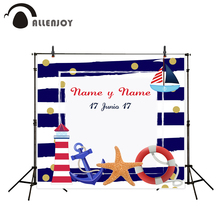 Allenjoy camera photography Birthday party sea theme anchor sailboat lighthouse blue stripes Photophone Background for photo(China)
