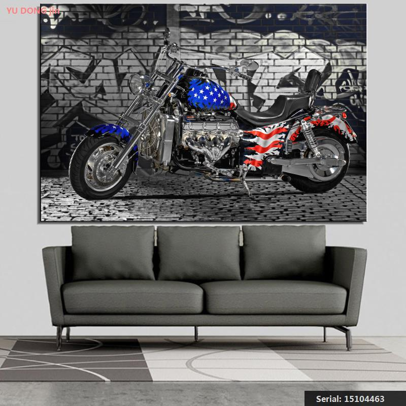 Graffiti USA Flag Brick Landscape Classical oil Painting Drawing art Spray Unframed Canvas gemstone wall airbrush iron15104463(China (Mainland))