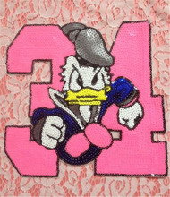 Embroidered iron on patches for clothes brand sequins deal with it clothing DIY Donald Duck Motif Applique Free shipping