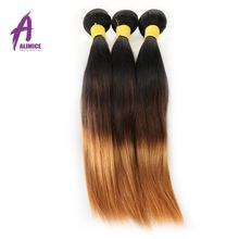 Alimice Hair Ombre Peruvian Hair Straight Hair Bundles T1B/4/30 Brown Honey Blonde Non Remy Human Hair Weave Extension 10-26inch(China)