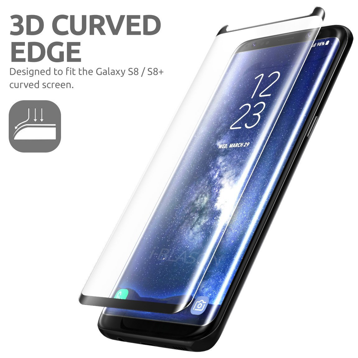 For Samsung Galaxy S8 3D Curved edge Screen Protector Case Friendly Full Cover Tempered Glass Film For Samsung S8 Plus S8+