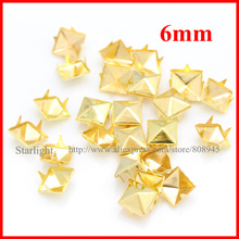 1000 x 6mm Gold Pyramid Studs Square Rivet Spikes For Clothes FREE SHIPPINGstar15(China)