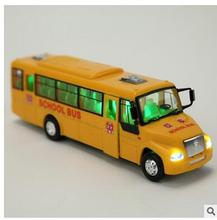Inertial light music Hyun US school buses buses back of a school bus toy car model car door(China)
