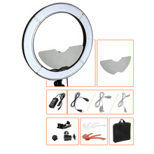 "18"" 55W 5500K Studio Dimmable LED DSLR Camera Mirror Video Photo Ring Light Kit with Color Filer and Carry Bag for Makeup Photo(China)"