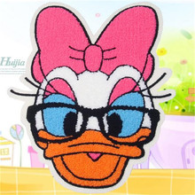 Embroidered iron on patches for clothes Cute Donald Duck deal with it clothing DIY Motif Applique Free shipping
